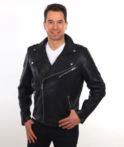 herren lederjacke bikerjacke schwarz braun ledorado laura zanello. Black Bedroom Furniture Sets. Home Design Ideas